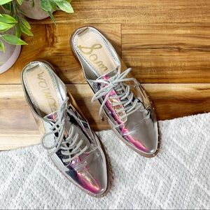 SAM EDELMAN Lowell Silver Mules Oxfords Lace Up